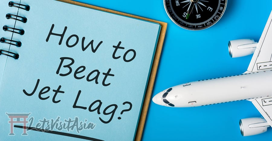 "an image with a toy plane and watch with a book titled ""how to beat jet lag"""