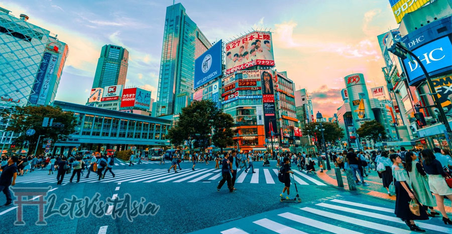 An image of the famous shibuya crossing in Tokyo to show an image of japan before returning