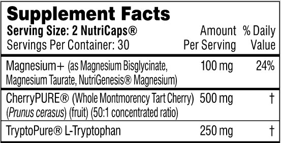 The supplement facts label showing the ingredients for Performance Lab Sleep for our review
