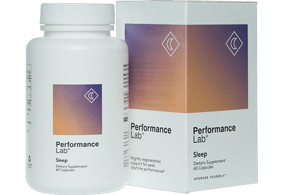 A bottle of Performance Lab Sleep for our review