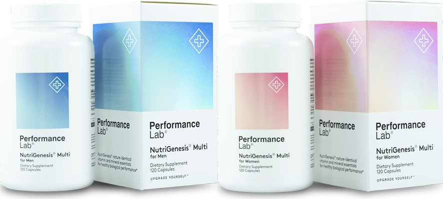 A bottle of Performance Lab NutriGenesis Multi for Men and Women for this review
