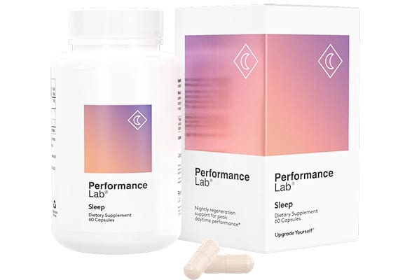 A bottle and packaging of Performance Lab's Sleeping Pill for Long Flights