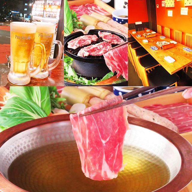 Food and drink images served at Hitsuji No Yu, a shabu shabu restaurant in Tokyo