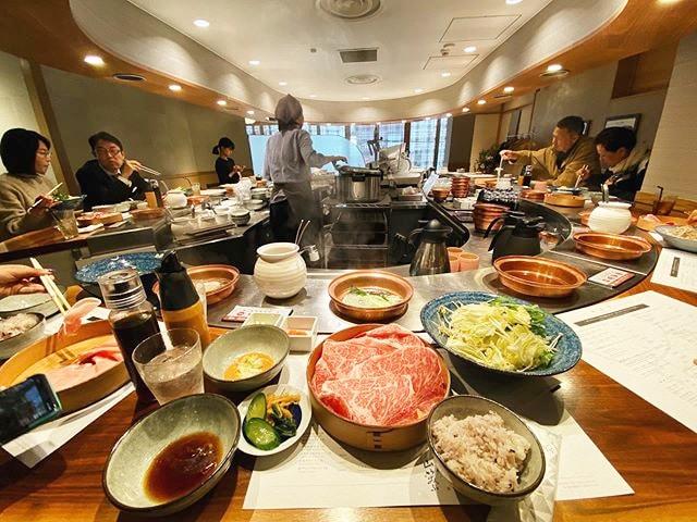 The interior of one of the best shabu shabu restaurants in Tokyo called Yamawarau