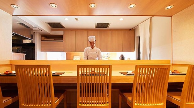 Interior of vegetarian kaiseki Tokyo Restaurant, Ise Sueyoshi