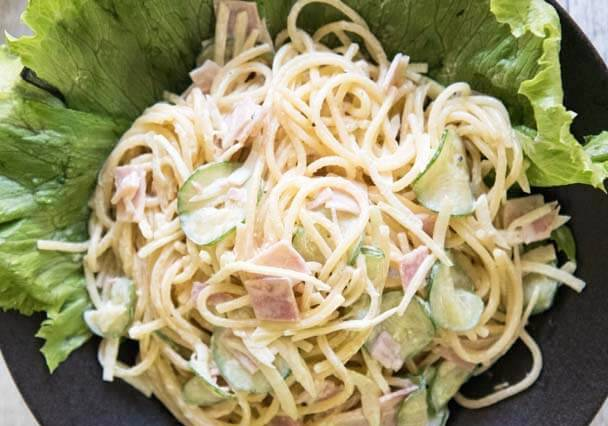 Itameshi style Japanese Spaghetti Salad